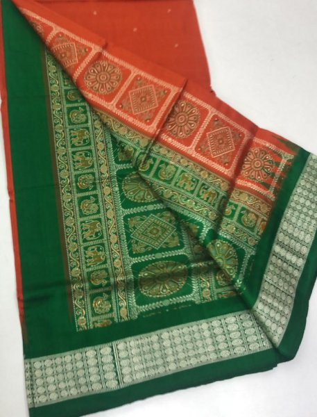 Red and Green handwoven bomkai silk saree