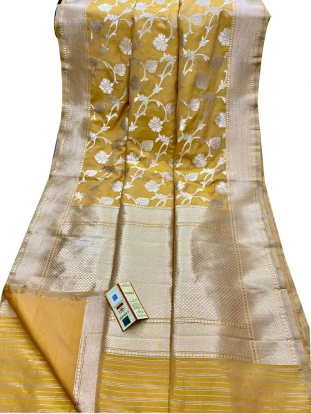 Light yellow and Silver pure katan banarasi silk saree