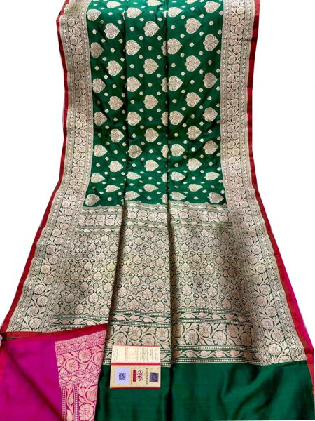 Green and Silver katan banarasi silk sarees