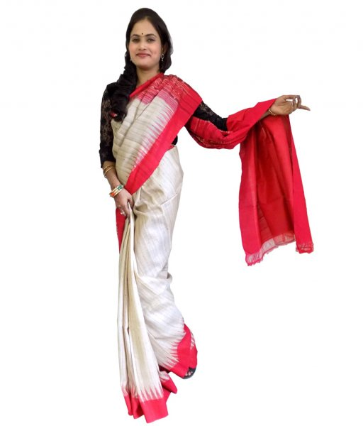 Cream With Red Tussar Silk Saree