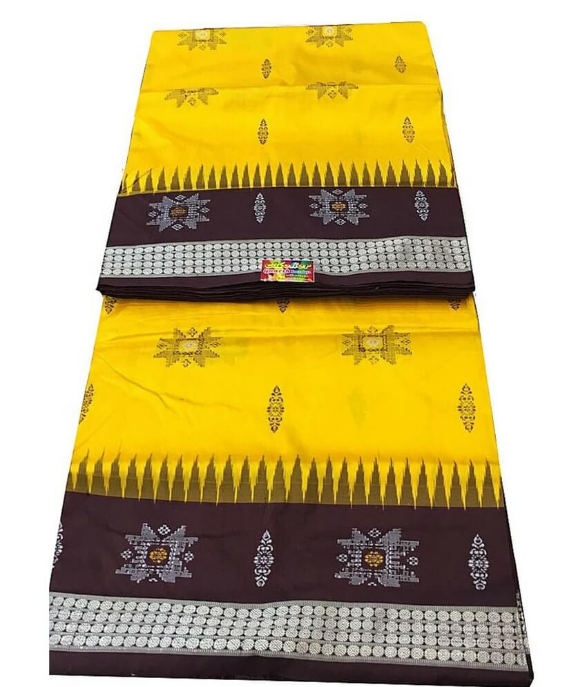 Yellow Sambalpuri Silk Saree