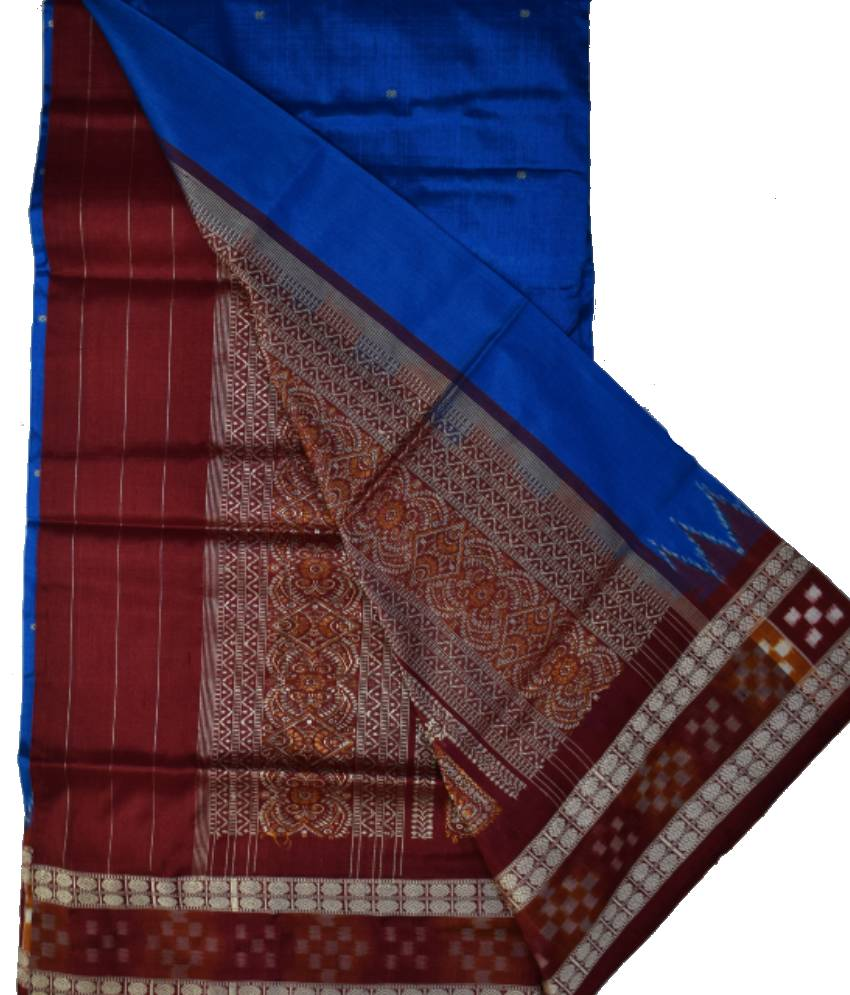 Sky & Maroon Partly Bomkai Silk Saree