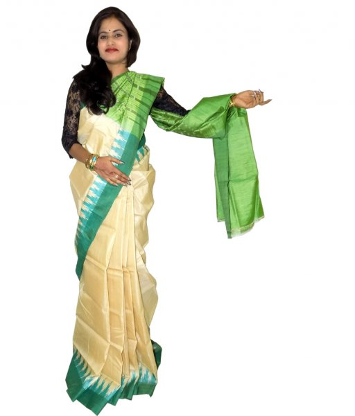 Cream With Green Tussar Silk Saree
