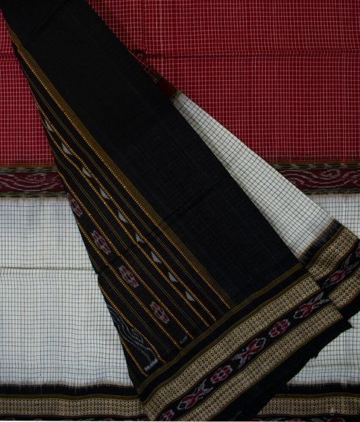 White, Maroon and Black Sambalpuri cotton saree