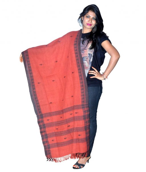Kotpad Organic Dyed Cotton Red Dupatta