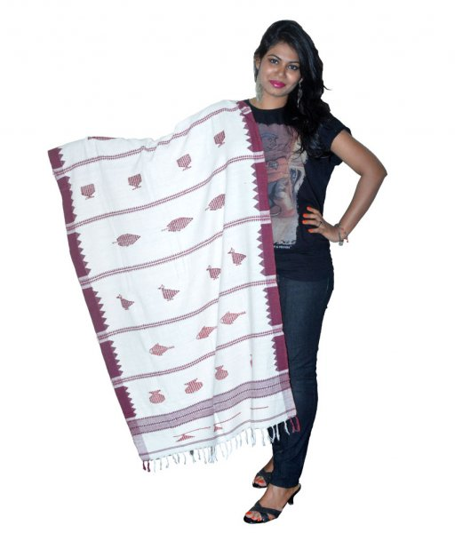 Kotpad Organic Dyed White Cotton Dupatta