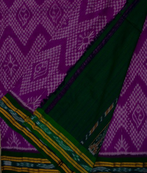 Purple and Green Sambalpuri cotton saree