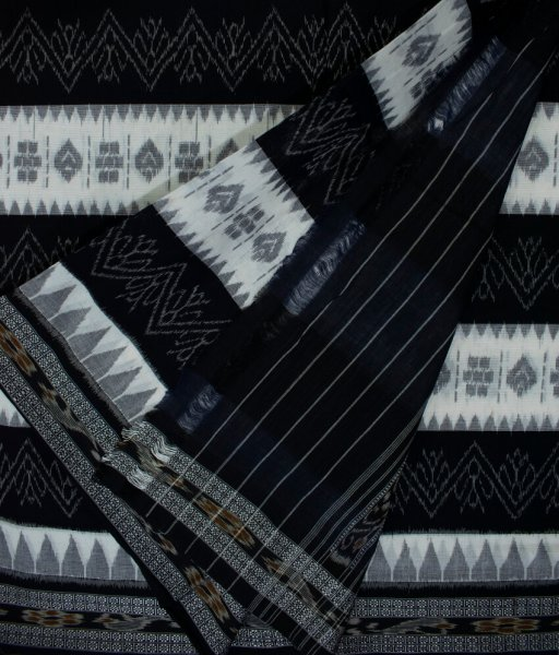 Black and White Sambalpuri cotton saree