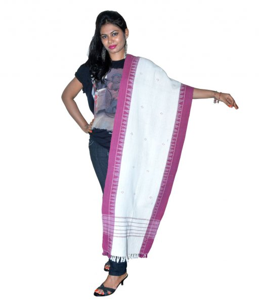 kotpad Organic Dyed Cotton White Dupatta