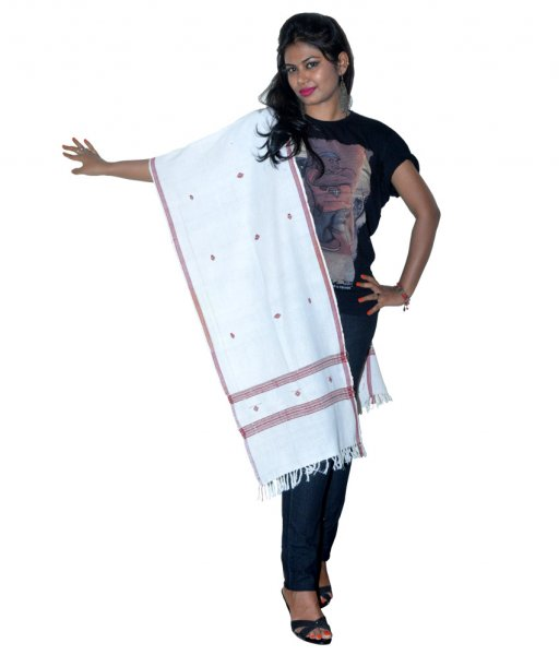 Kodpad Organic Dyed Cotton White Dupatta