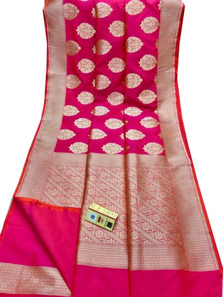 Pink and Silver Katan Banarasi silk saree