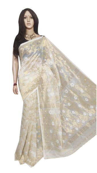 White full body weaving work jamdani silk saree