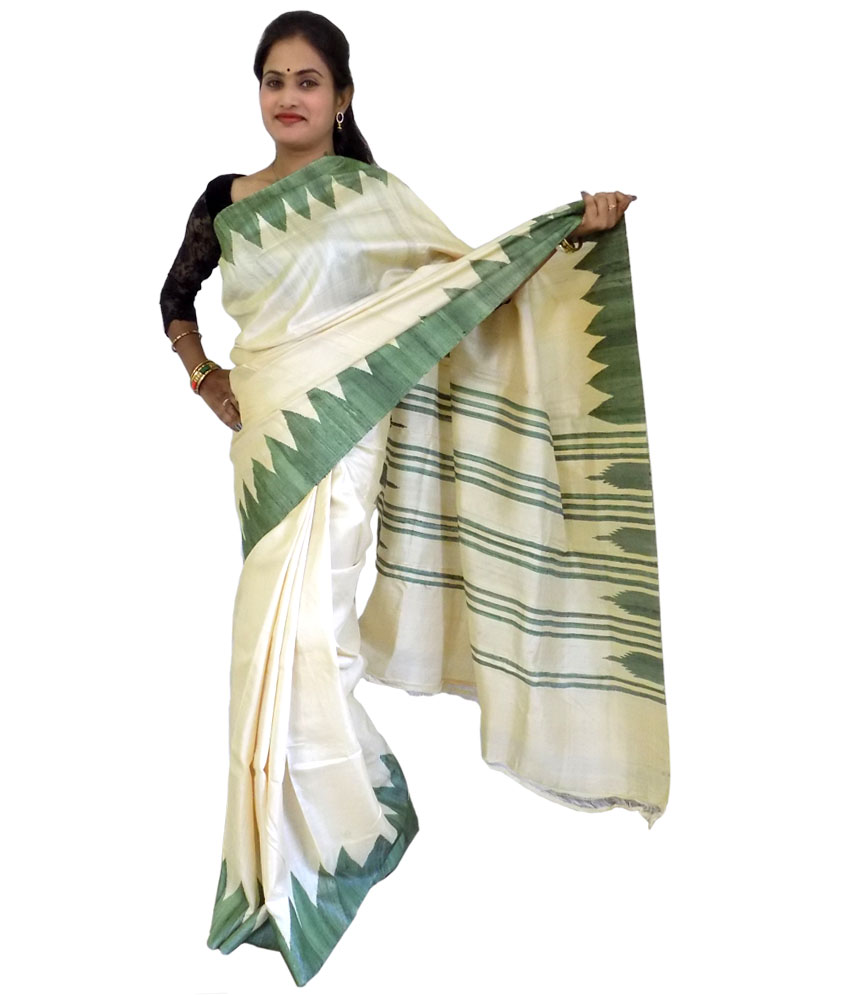 Cream Color Tussar Silk Saree