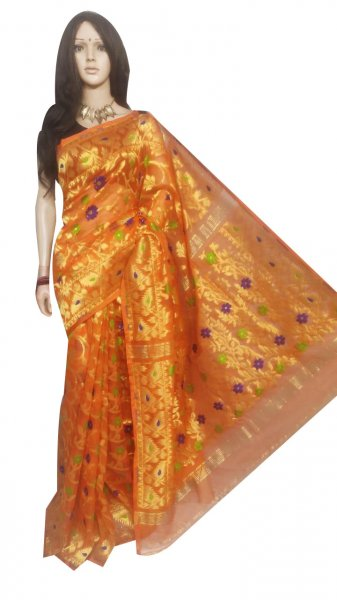 Mustard yellow full body weaving work jamdani silk saree