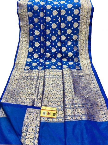 Blue and Silver Katan Banarasi silk saree