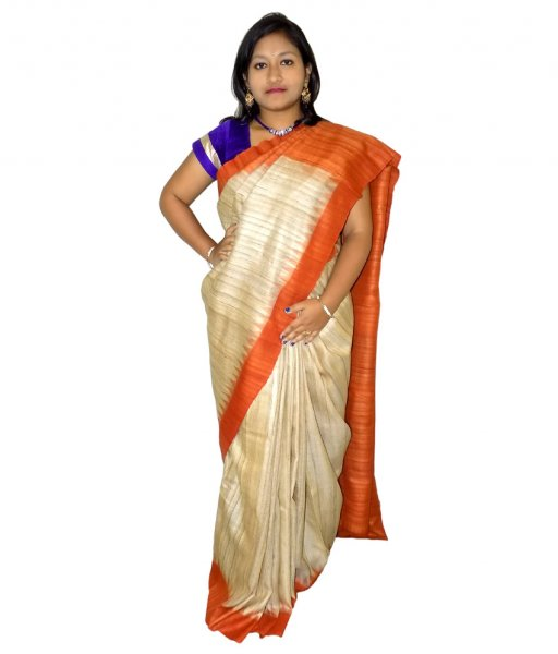 Cream Ghicha Kumbha Tussar Silk Saree