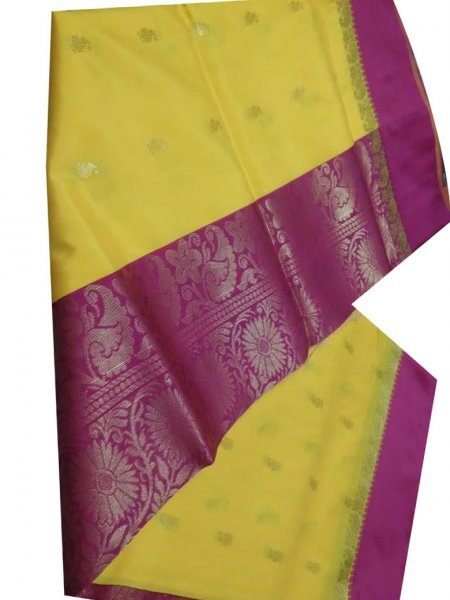 Yellow and deep pink linen jamdani saree