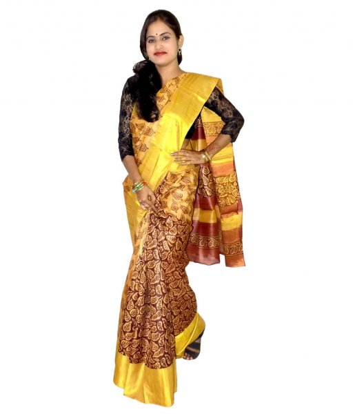 Golden with coffee Tussar Silk Saree