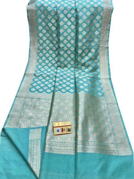Sky blue and silver Katan Banarasi  silk saree
