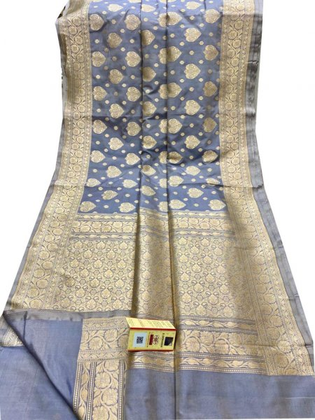 Gray and Silver katan Banarasi silk saree