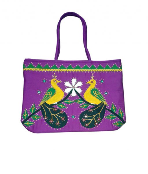 Violet Applique Hand Made Bag