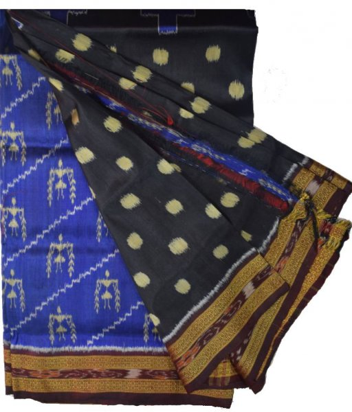 Purple & Blue Khandua Silk Saree