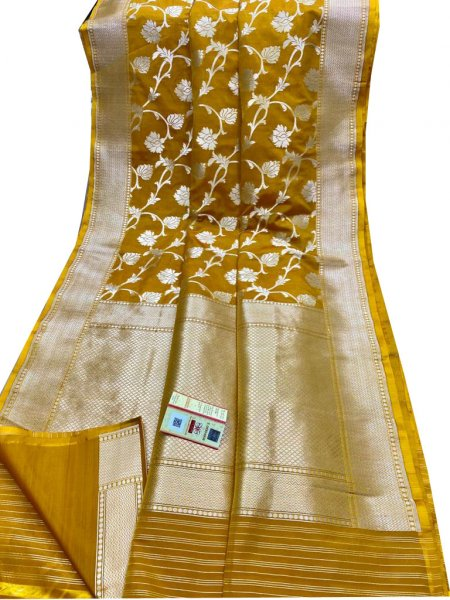 Mustard yellow and silver katan Banarasi silk saree