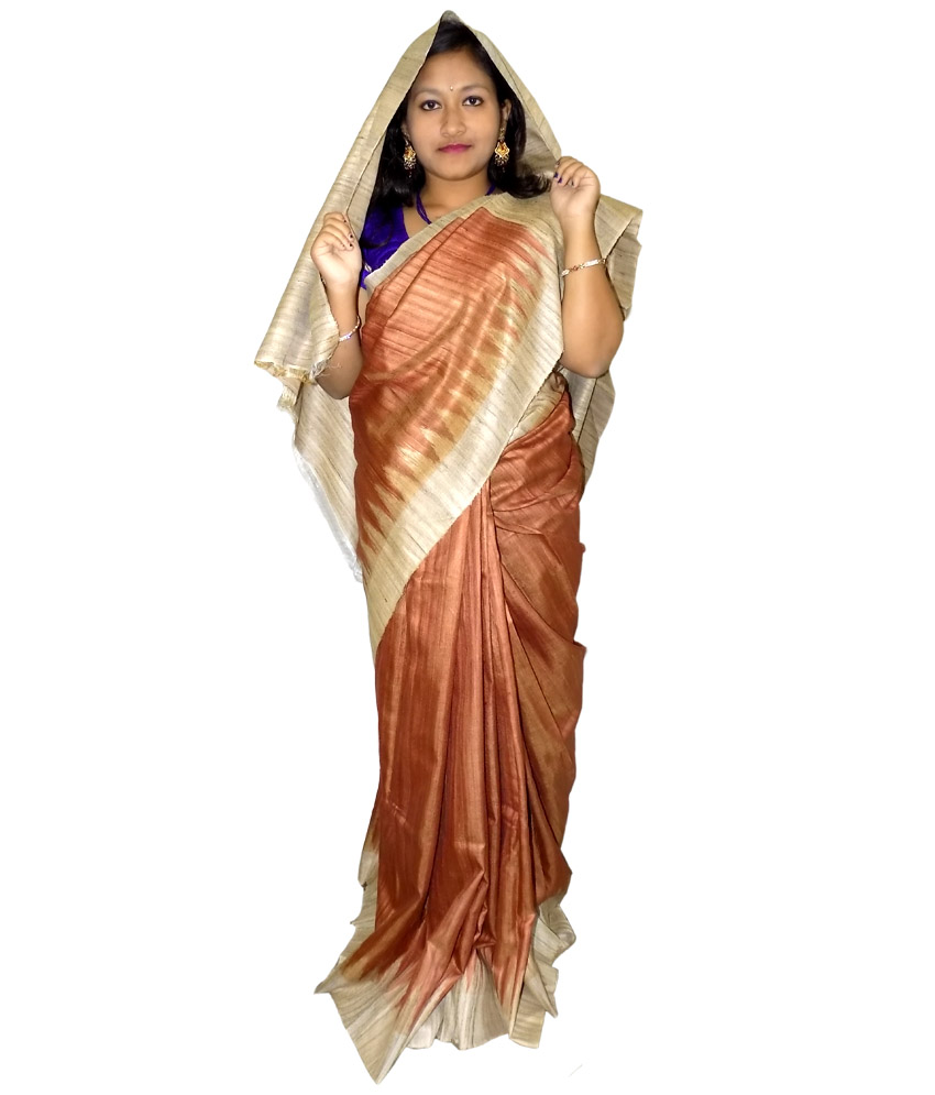 Brown Tussar Silk Saree