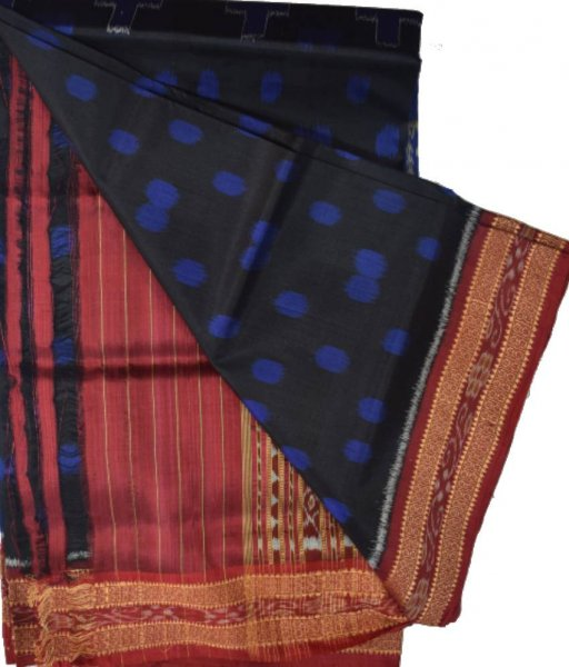 Back & Blue Khandua Silk Saree