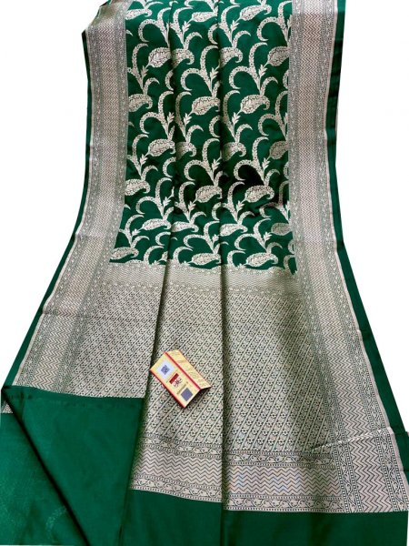 Deep green and silver katan Banarasi silk saree