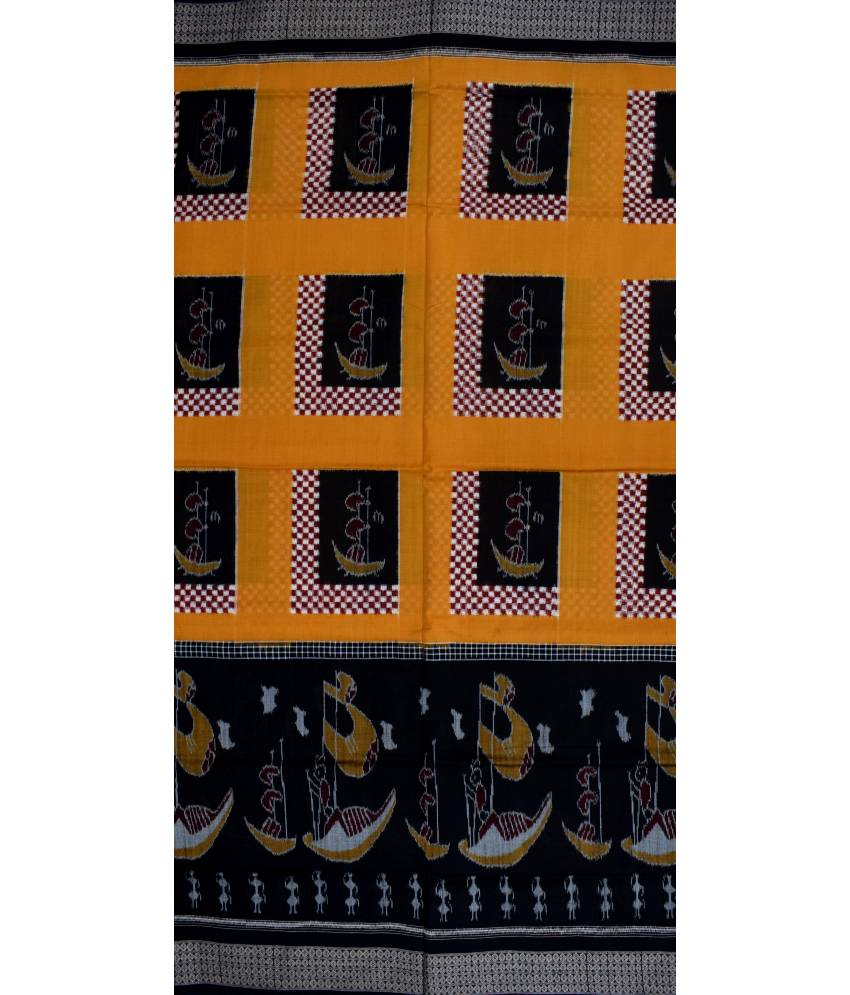 Yellow & Black Ikat Cotton Saree