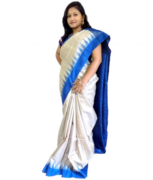 Cream With Blue Tussar Silk Saree