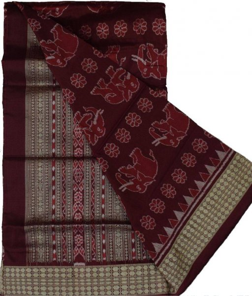 Elephant Pattern Sambalpuri Silk Saree