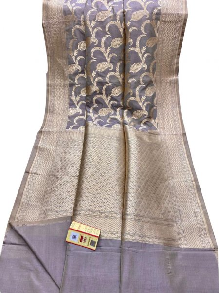 Gray and Silver pure katan banarasi silk saree
