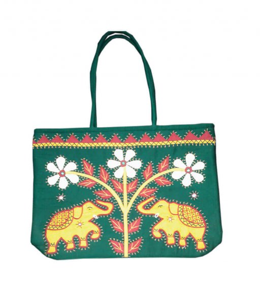 Green Applique Handmade Bag