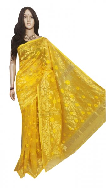 Yellow full body woven work Jamdani silk saree