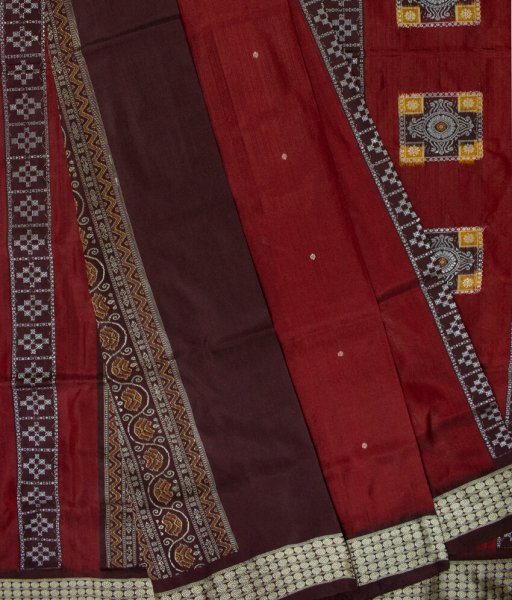 Maroon and Black handwoven Bomkai silk saree