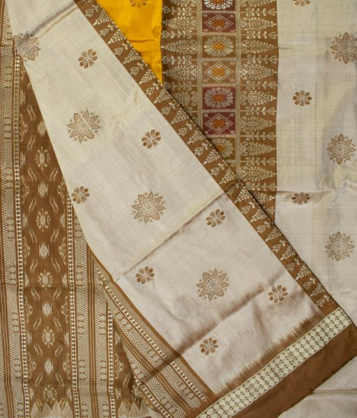 White and Golden yellow handwoven Bomkai silk saree
