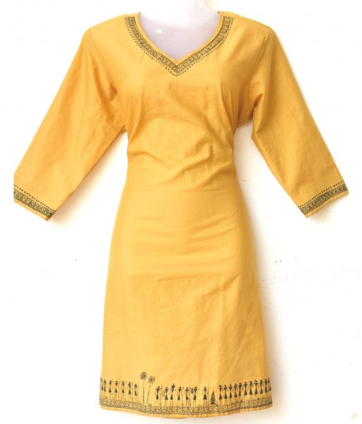 Yellow Tribal Painting Kurti