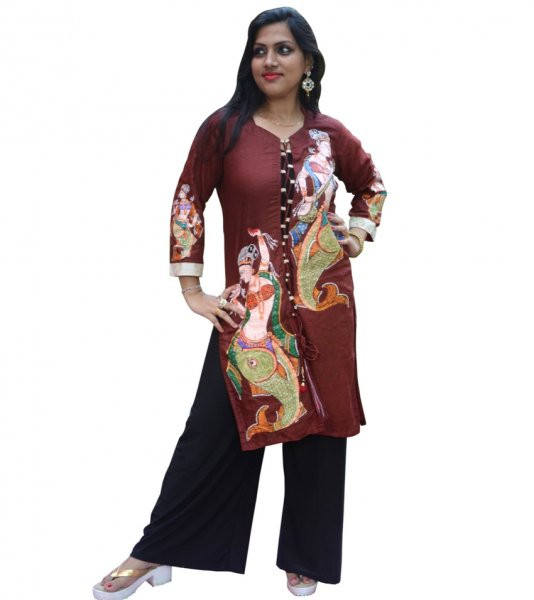 Brown Pattachitra Painting Kurti