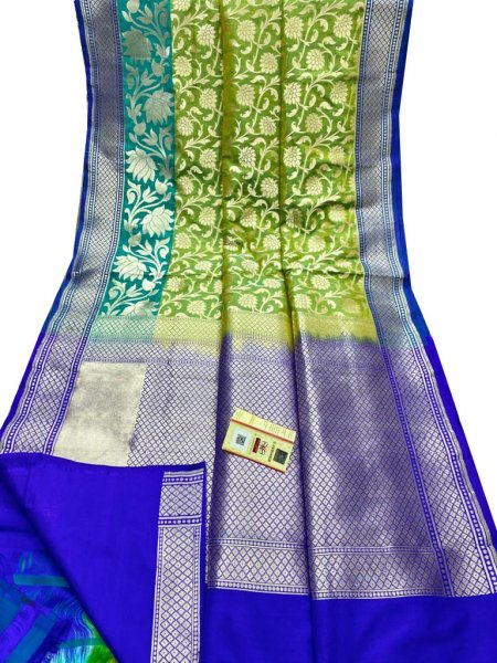 Blue, ocean green and lime green pure katan banarasi silk saree