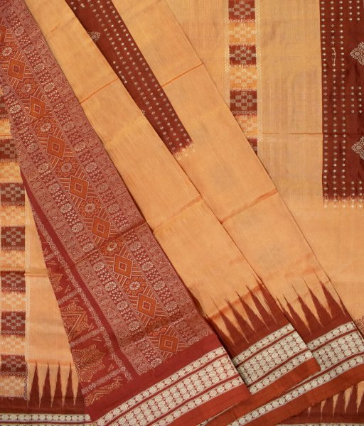 Cream and Maroon handwoven Bomkai silk saree