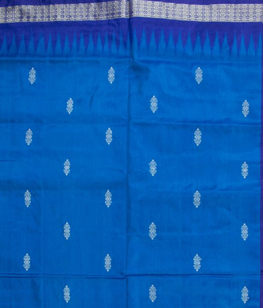 Sky blue and Deep blue handwoven Bomkai silk saree