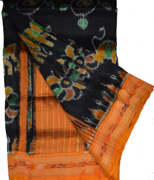 Black Khandua Silk Saree