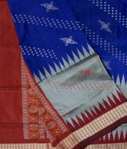 Blue, Gray and Brown handwoven Bomkai silk saree