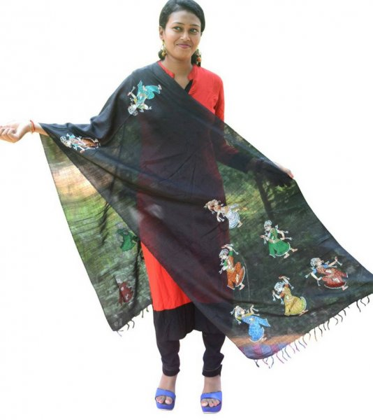 Black Pattachitra Painted Dupatta
