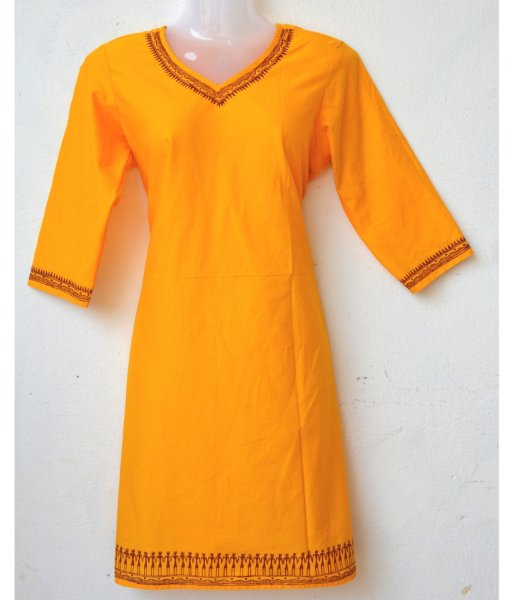 Orange Tribal Painting Kurti