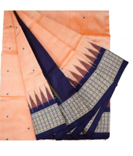 Cream Bomkai Silk Saree