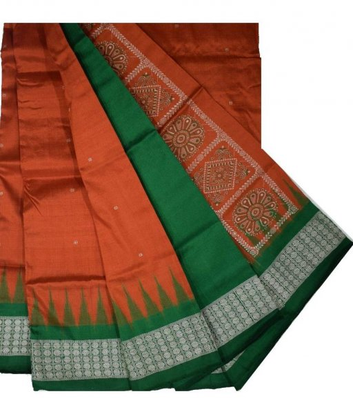 Rust Maroon Bomkai Silk Saree
