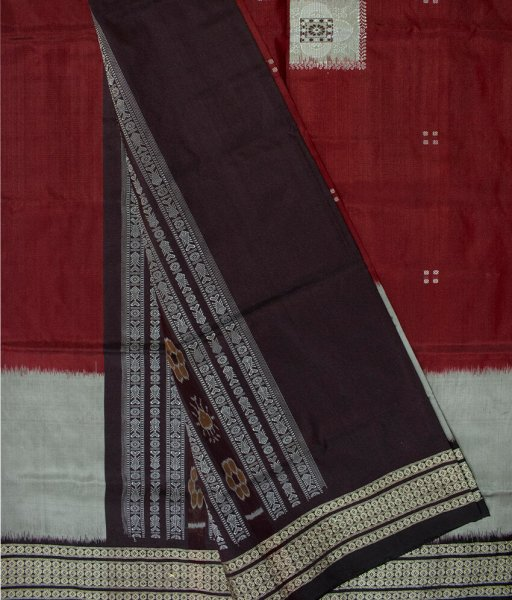 Black, Gray and Maroon handwoven Bomkai silk saree